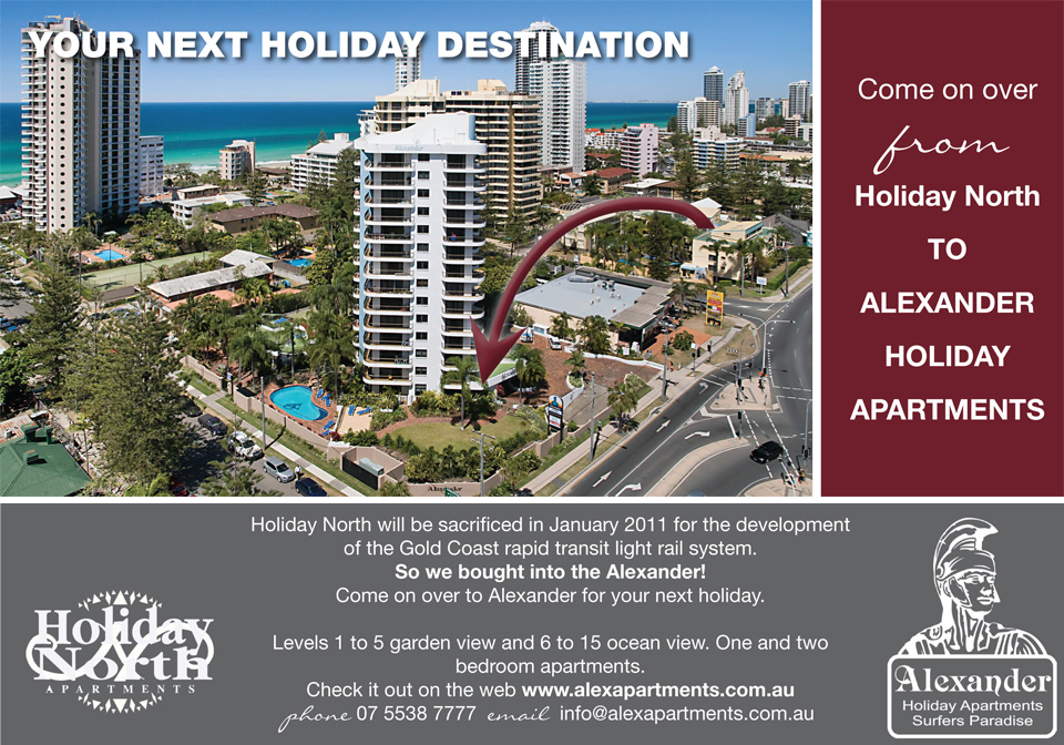 Come on over from Holiday North to Alexandar Holiday Apartments